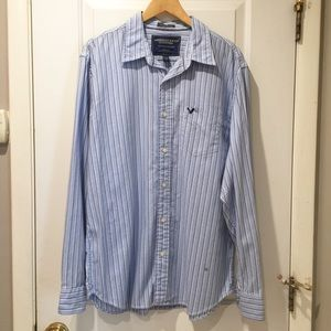 NWOT American Eagle Blue Stripe Button Down XL